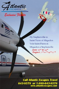 Air Saint Pierre ad Jun and Aug dates english and french